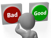 Bad Good Buttons Show Failure Or Approved — Stock Photo