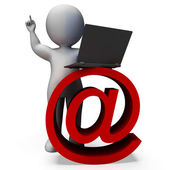 Email Sign And Laptop Shows Correspondence — Stock Photo