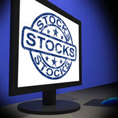 Stocks Screen Shows Shares Growth And Stock Market — Stock Photo