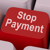 Stop Payment Key Shows Halt Online Transaction — Stock Photo