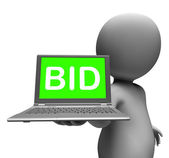 Bid Laptop Character Shows Bids Bidding Or Auction Online — Stock Photo