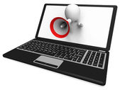 Laptop Loud Hailer Shows Internet Announcements Messages Or Info — Stock Photo