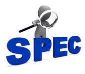 Spec Character Shows Specifications Details Particulars Or Desig — Stock Photo