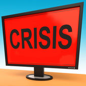 Crisis Monitor Means Calamity Trouble Or Critical Situation — Stock Photo