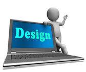 Design notebooku ukazuje tvůrčí umělecké navrhování — Stock fotografie