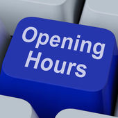 Opening Hours Key Shows Retail Business Open — Stock Photo