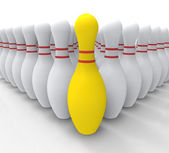 Vision Bowling Skittles Shows Achieving — Stock Photo