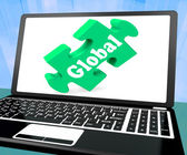 Global Laptop Shows Worldwide International Globalization Connec — Stock Photo