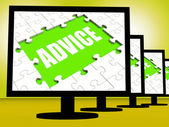 Pantalla consejo significa sugerencias aconsejan recomendar o sugerir — Foto de Stock