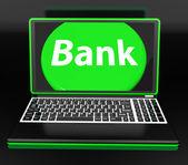 Bank op laptop toont internet www of elektronisch bankieren — Stockfoto