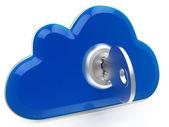 Cloud computing central menande internet trygghet — Stockfoto