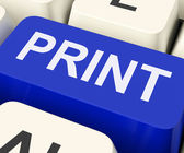 Print Key Shows Printer Printing Or Printout — Stock Photo