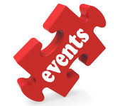 Events Puzzle Means Concerts Occasions Events Or Functions — Stock Photo