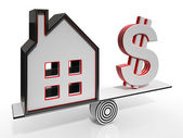 House And Dollar Balancing Showing Investment — Stock Photo