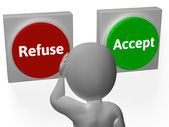 Refuse Accept Buttons Shows Refusal Or Acceptance — Stock Photo