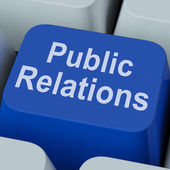 Public Relations Key Means News Media Communication Online — Stock Photo