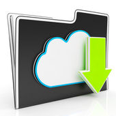 Download Arrow And Cloud File Shows Downloading — Stock Photo