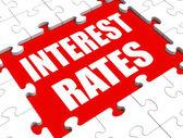 Zinssatz-puzzle zeigt investitions- oder kreditaufnahme prozent — Stockfoto