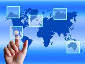 World Map Finger Shows Worldwide Communication And Global Cybers — Zdjęcie stockowe