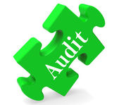 Audit Puzzle Shows Auditor Validation Scrutiny Or Inspectio — Stock Photo