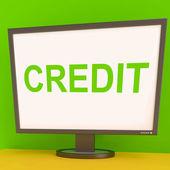 Kreditní obrazovka ukazuje financování dluhu nebo úvěr na nákup — Stock fotografie