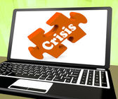 Crisis Laptop Means Catastrophe Troubles Or Critical Situation — Stock Photo