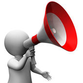 Megaphone Character Shows Speech Shouting Announcing And Announc — Stock Photo