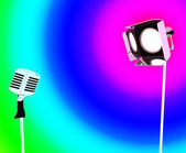 Spotlight And Microphone Shows Concert Entertaining Or Talent — Stock Photo