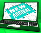 New Arrival Laptop Computer Shows Latest Products Announcement — Stock Photo