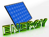 Solar Panel And Energy Word Shows Alternative Energies — Stock Photo
