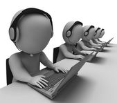 Helpdesk Hotline Operators Show Call Center — Stock Photo