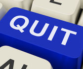 Quit Key Shows Exit Resign Or Give Up — Stock Photo