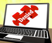 Denied Laptop Shows Denial Deny Decline Or Refusals — Stock Photo