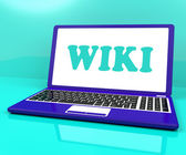 Wiki Laptop Shows Online Websites Knowledge Or Encyclopedia — Stock Photo