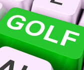 Golf Key Means Golfing Online Or Golfe — Stok fotoğraf
