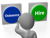 Outsource Hire Buttons Show Subcontracting Or Freelancing — Стоковое фото