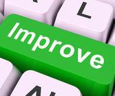 Improve Key Means Better Or Enhanc — Stock Photo