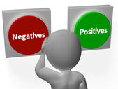 Negatives Positives Buttons Show Minuses And Plusses — Stock Photo