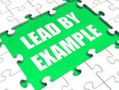 Lead by Example Puzzle Shows Leading Leadership And Motivation — Stock Photo