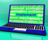 Implement Laptop Shows Implementing Or Executing A Plan — Stock Photo