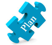 Plan Puzzle Shows Objectives Planning And Organizing — Stock Photo