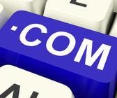 Com Keys Means Web Domain Nam — Stock Photo