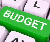 Budget Key Means Allowance Or Spending Pla — Stock Photo