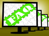 Faq On Monitors Shows Faqs Frequently Asked Questions Online — Stock Photo