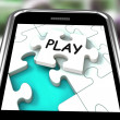 Play Smartphone Shows Recreation And Games On Internet — Stock Photo