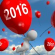 Stock Photo: Two Thousand Sixteen on Balloons Shows Year 2016