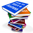 Stock Photo: How To Start Business Book Stack Shows Begin Company Partnersh