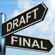 Stock Photo: Draft Final Signpost Means Writing Rewriting And Editing
