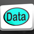 Data Button Shows Facts Information Knowledge — Stock Photo