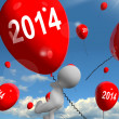Stock Photo: Two Thousand Fourteen on Balloons Shows Year 2014